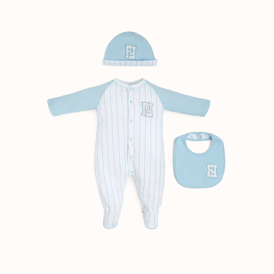 FENDI BABY BOY'S NURSERY KIT - White and sky blue jersey kit - view 1 detail