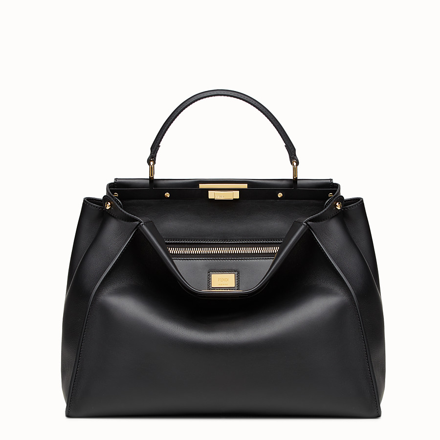 FENDI PEEKABOO LARGE - Black leather handbag - view 1 detail