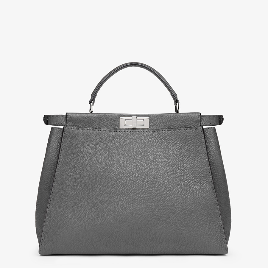 FENDI PEEKABOO ICONIC LARGE - Grey leather handbag - view 3 detail