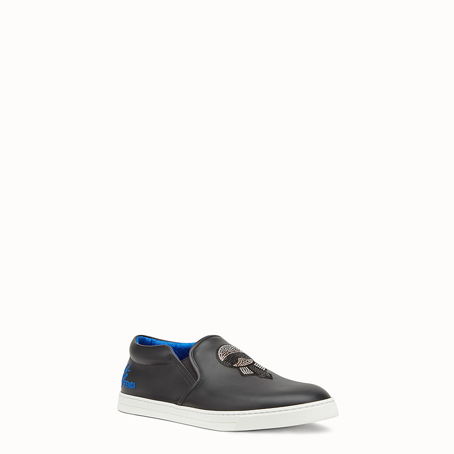 FENDI SNEAKERS - Slipper aus schwarzem Leder - view 2 detail