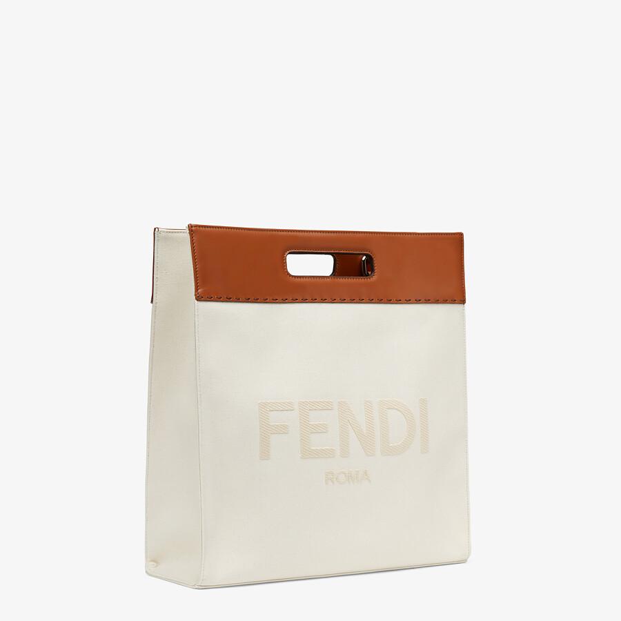 FENDI SHOPPING BAG - Beige canvas shopper - view 3 detail
