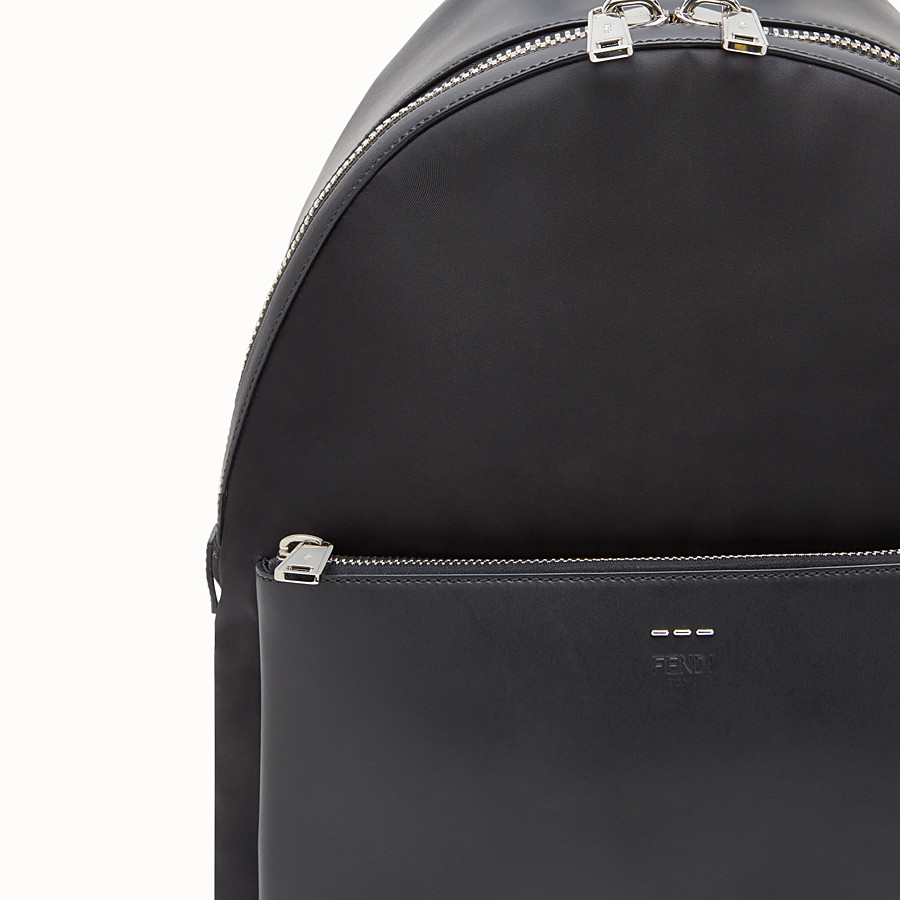 FENDI BACKPACK - Fabric and black leather backpack - view 4 detail