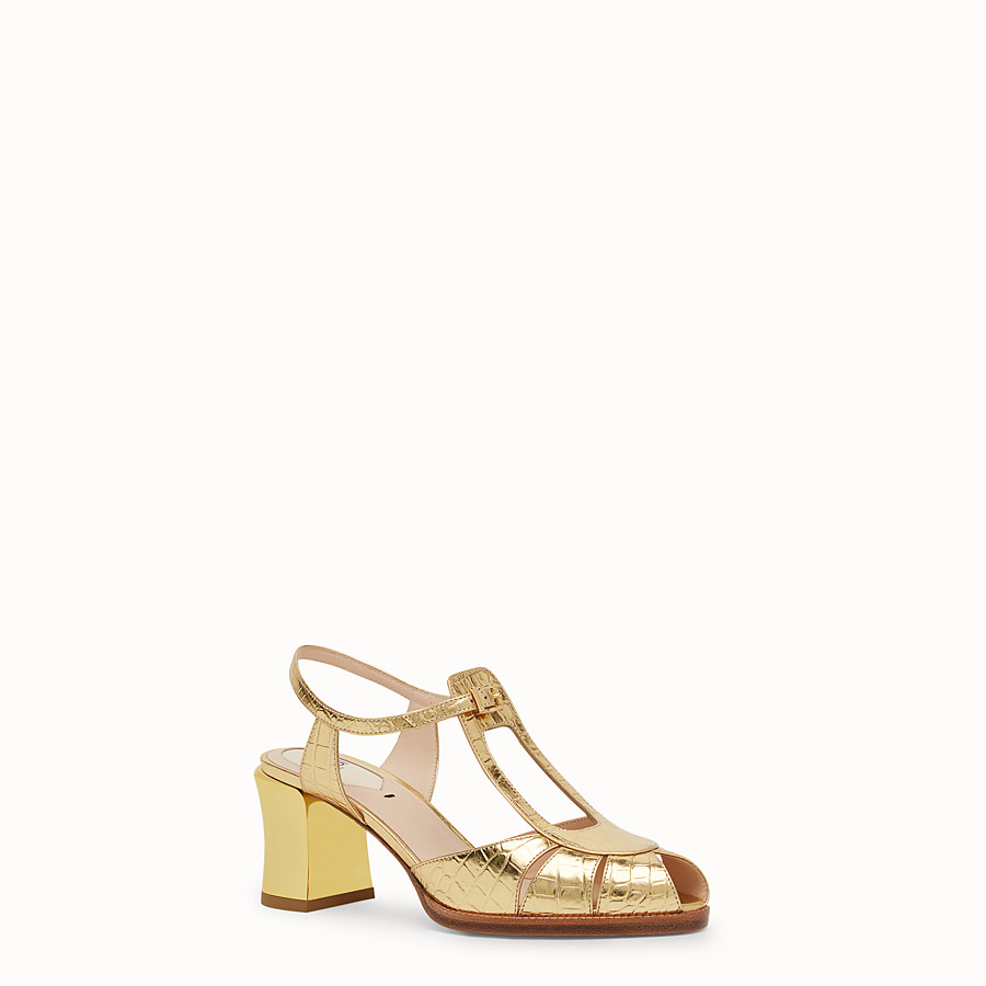 FENDI SANDALS - Gold leather sandals - view 2 detail