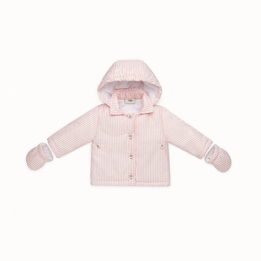 FENDI FOOTMUFF - Baby girl's striped ivory and pink padded footmuff - view 3 detail