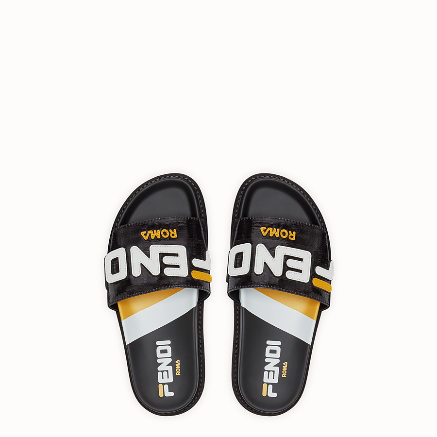 FENDI SLIDES - Black fabric slides - view 4 detail