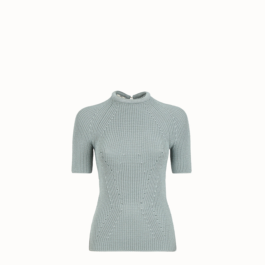 FENDI JUMPER - Pullover in light blue silk - view 1 detail
