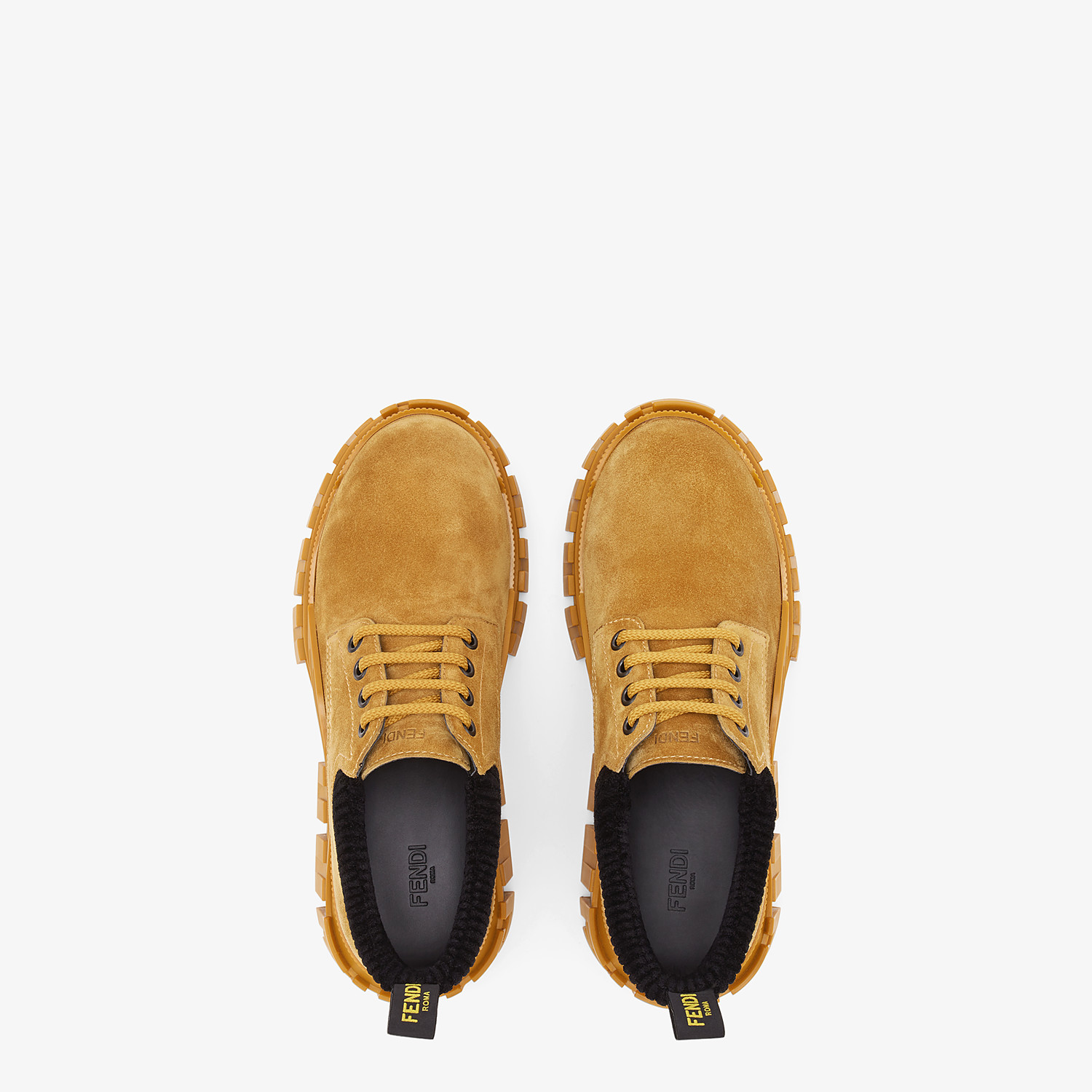 FENDI FENDI FORCE - Yellow suede lace-ups - view 4 detail