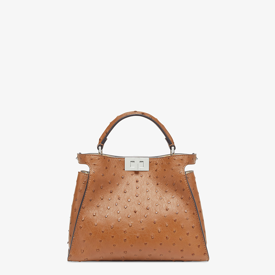 FENDI PEEKABOO ICONIC ESSENTIALLY - Brown ostrich bag - view 1 detail