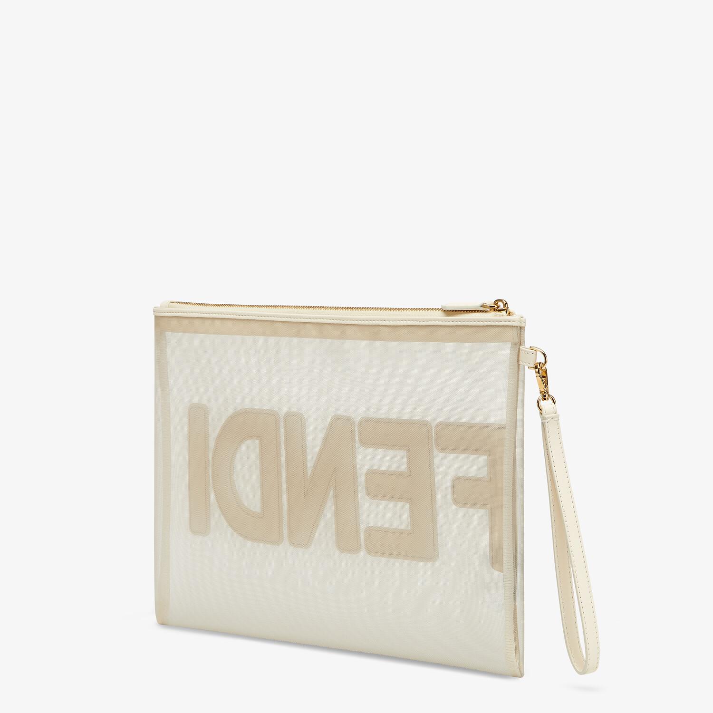 FENDI FLAT POUCH LARGE - White micro-mesh pouch - view 2 detail