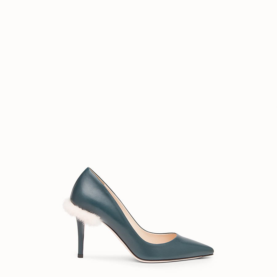 FENDI COURT SHOES - Green leather court shoes - view 1 detail