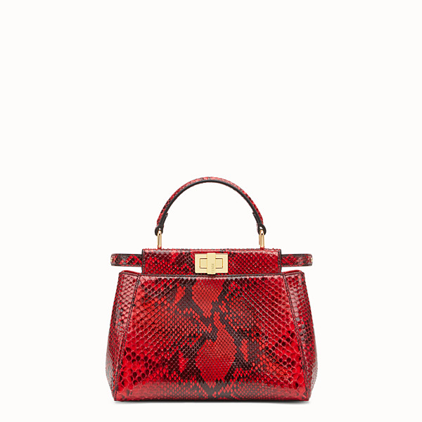 FENDI PEEKABOO MINI - Red python handbag. - view 1 small thumbnail