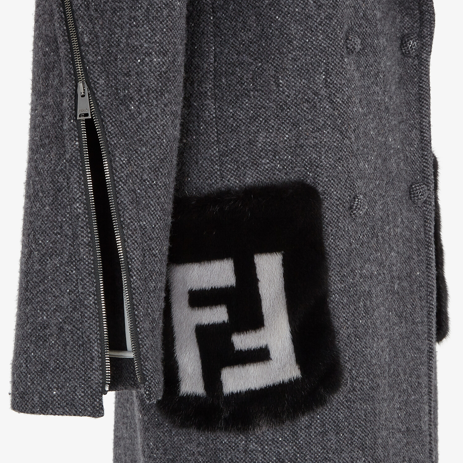 FENDI COAT - Gray melange double wool tweed coat - view 3 detail