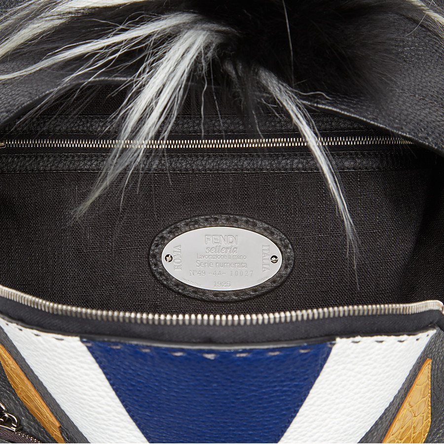 FENDI BACKPACK - in black and grey Roman leather - view 4 detail