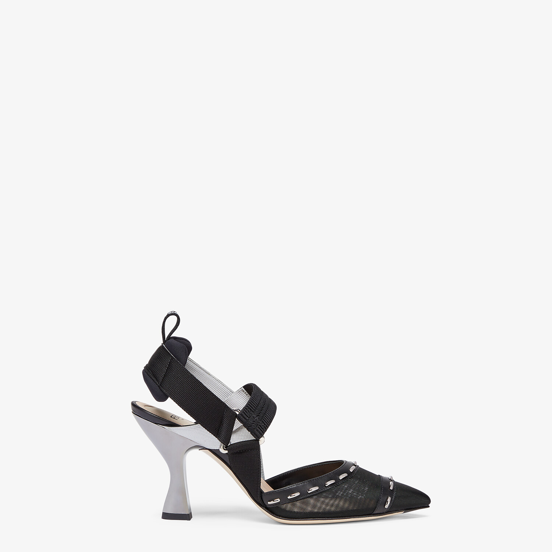 FENDI COLIBRÌ - Black mesh, high-heel slingbacks with metal stitches - view 1 detail