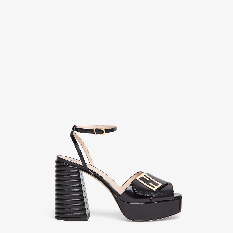 FENDI SANDALS - Black leather Promenade Sandals - view 1 detail