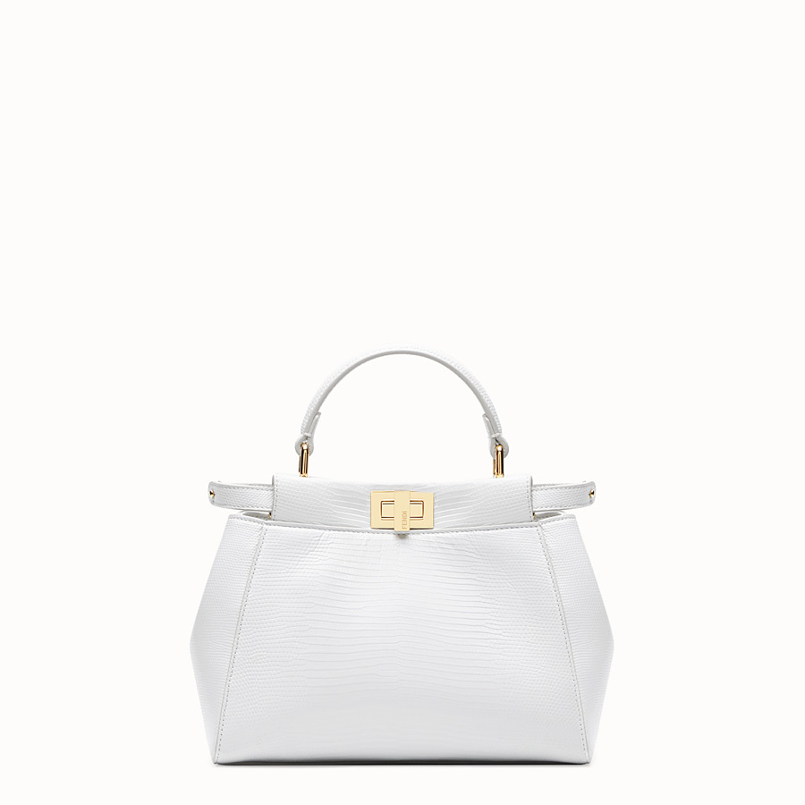 FENDI PEEKABOO ICONIC MINI - White lizard skin bag - view 1 detail