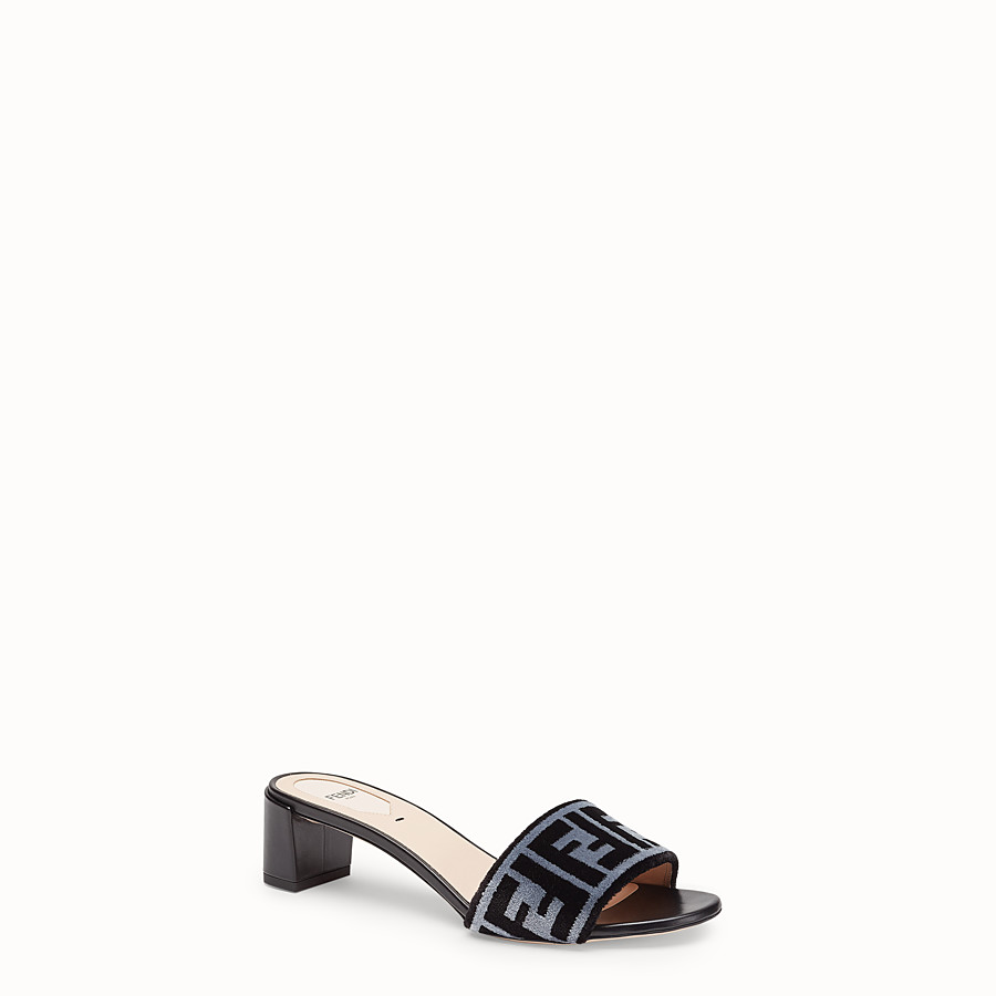 FENDI SLIDES - Multicolour fabric sandals - view 2 detail