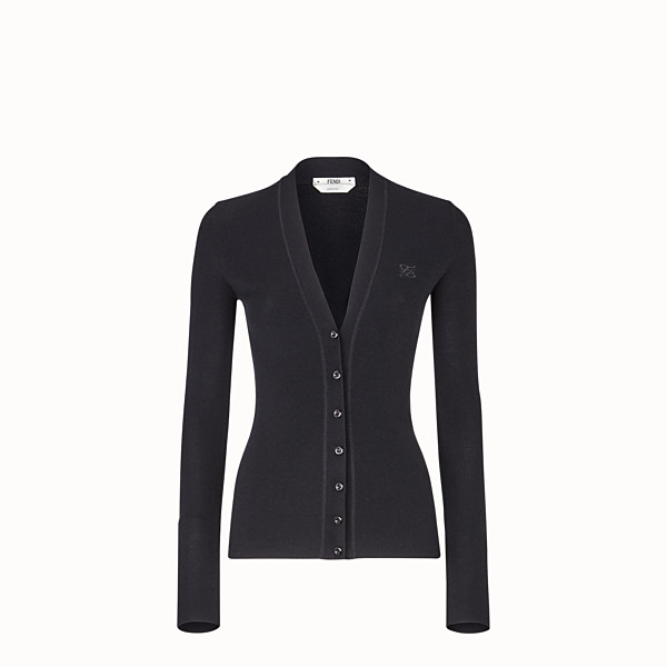 FENDI CARDIGAN - Black silk and wool cardigan - view 1 small thumbnail