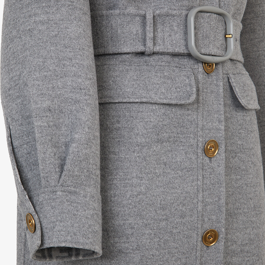 FENDI OVERCOAT - Gray wool trench coat - view 3 detail
