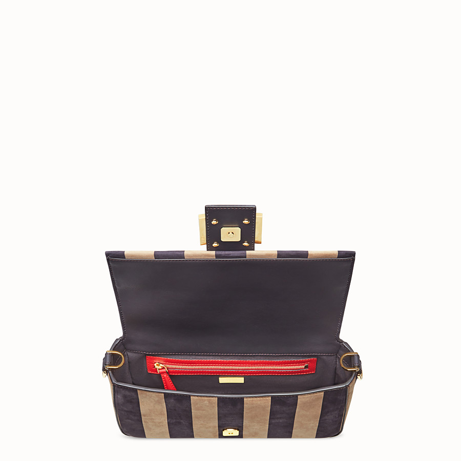 FENDI BAGUETTE - Brown nubuck leather bag - view 5 detail