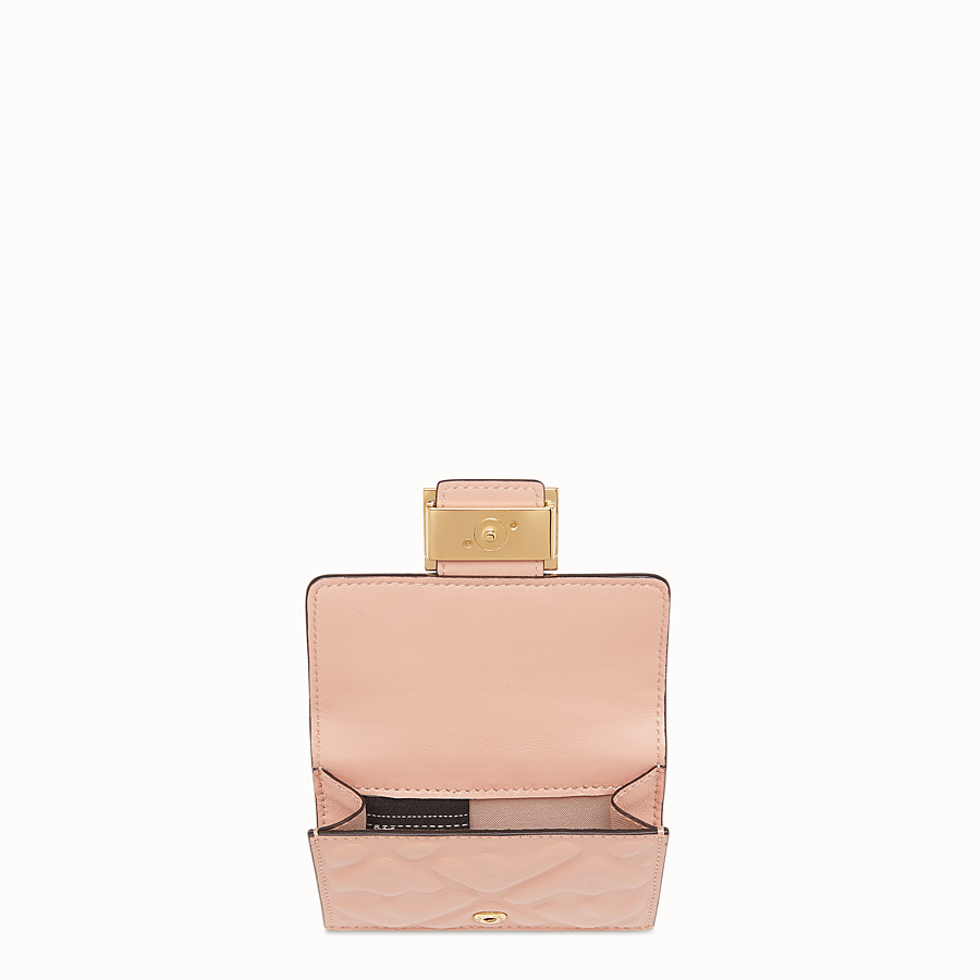 FENDI MICRO TRIFOLD - Portemonnaie aus Nappaleder in Rosa - view 3 detail