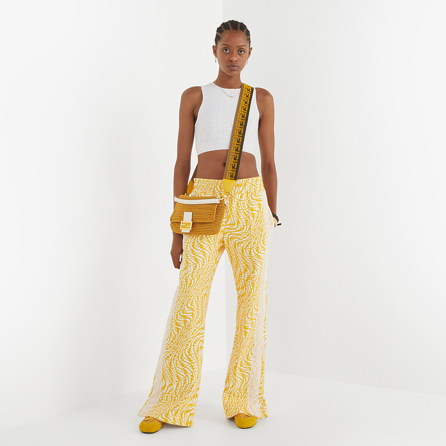 FENDI BAGUETTE - Yellow cotton crochet bag - view 2 detail