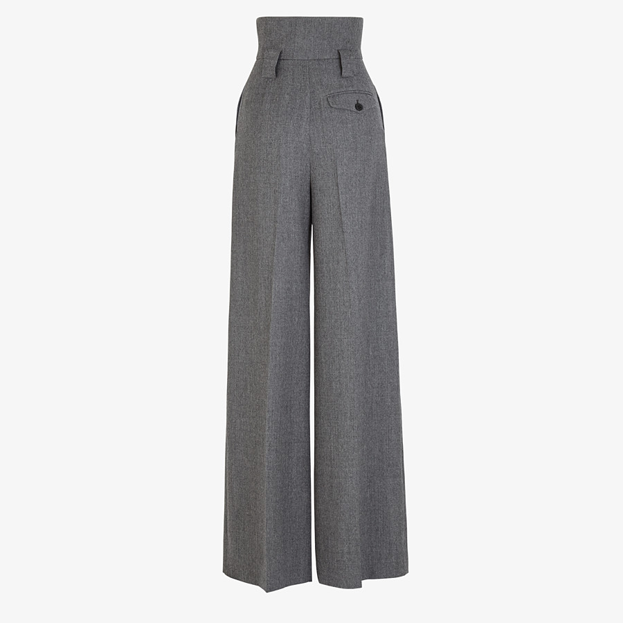 FENDI TROUSERS - Grey flannel trousers - view 2 detail