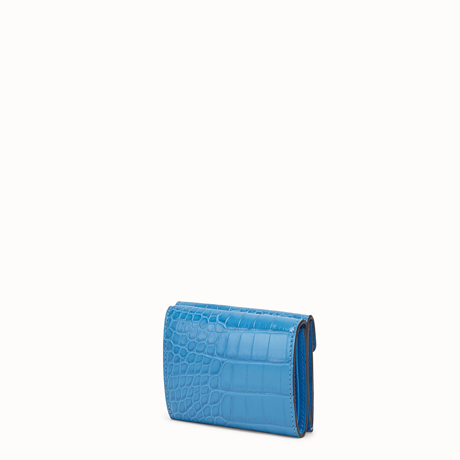 FENDI MICRO TRIFOLD - Pale blue alligator wallet - view 2 detail