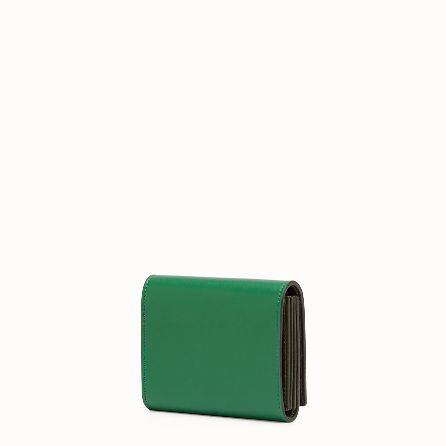 FENDI CARD HOLDER - Mini green leather wallet - view 2 detail