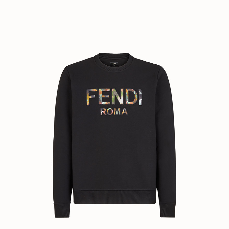 FENDI SWEATSHIRT - Black jersey sweatshirt - view 1 detail