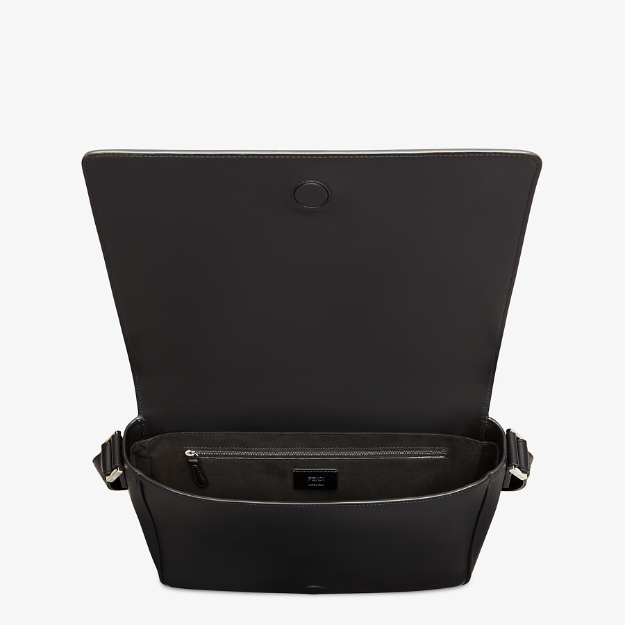 FENDI MESSENGER - Black leather bag - view 4 detail