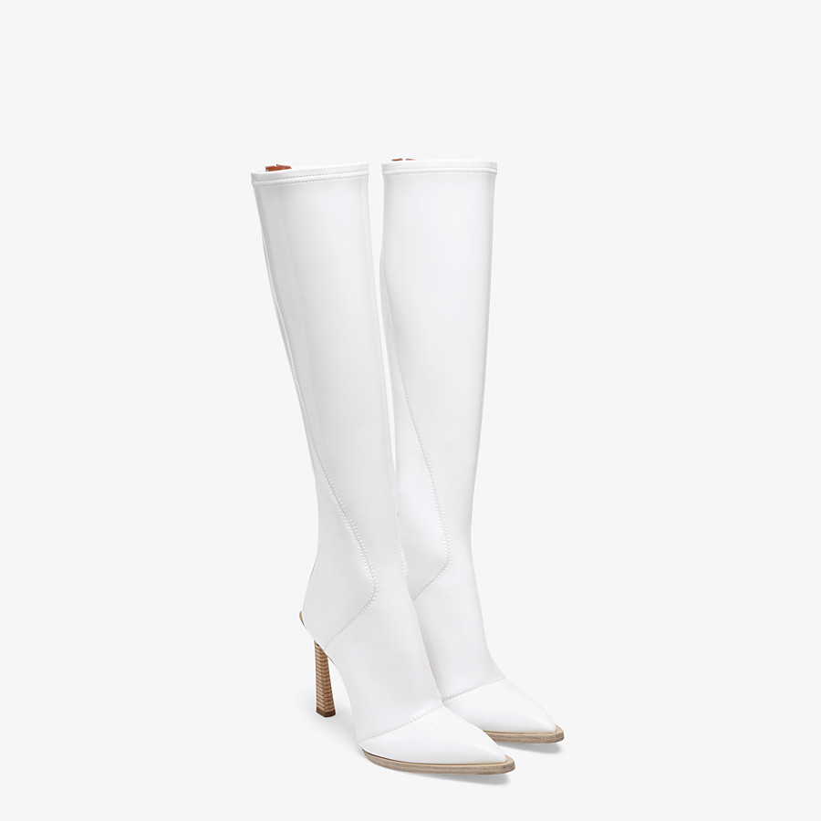 FENDI BOOTS - Boot in glossy, white neoprene - view 4 detail