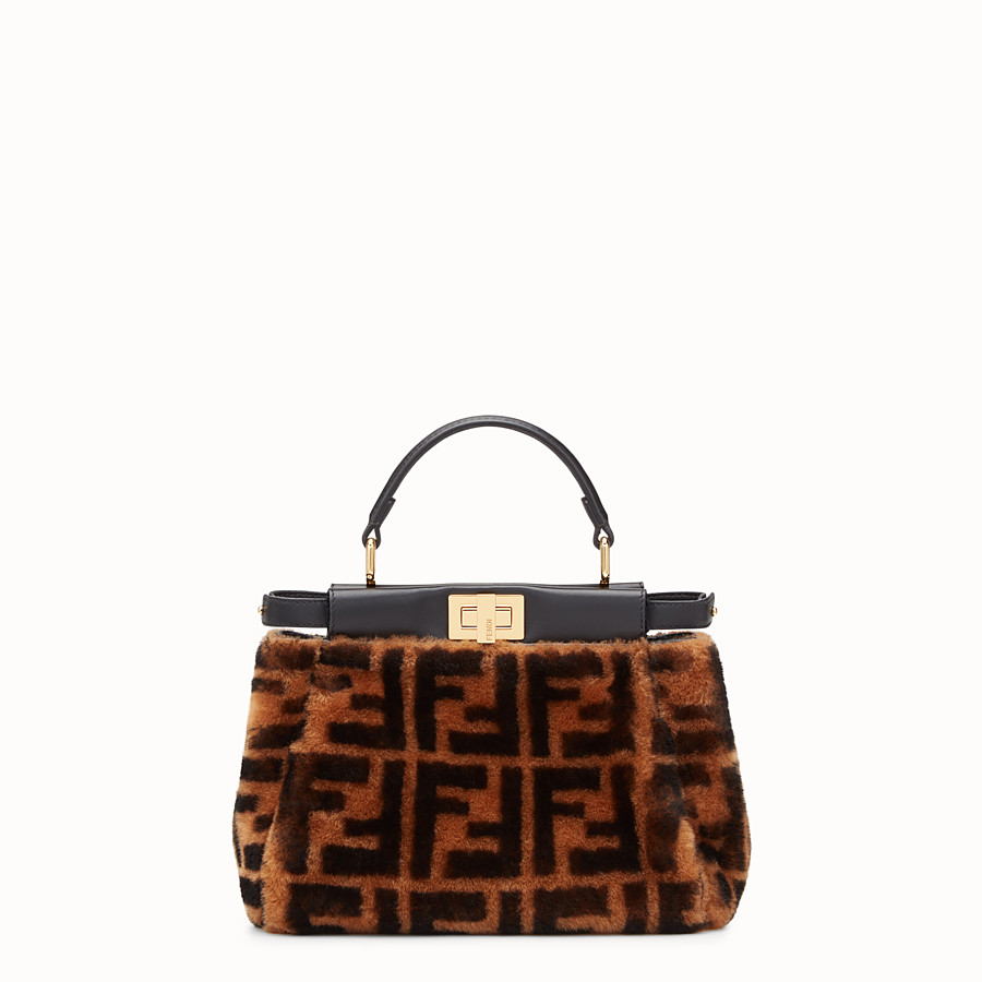 FENDI PEEKABOO MINI - Brown sheepskin bag - view 1 detail