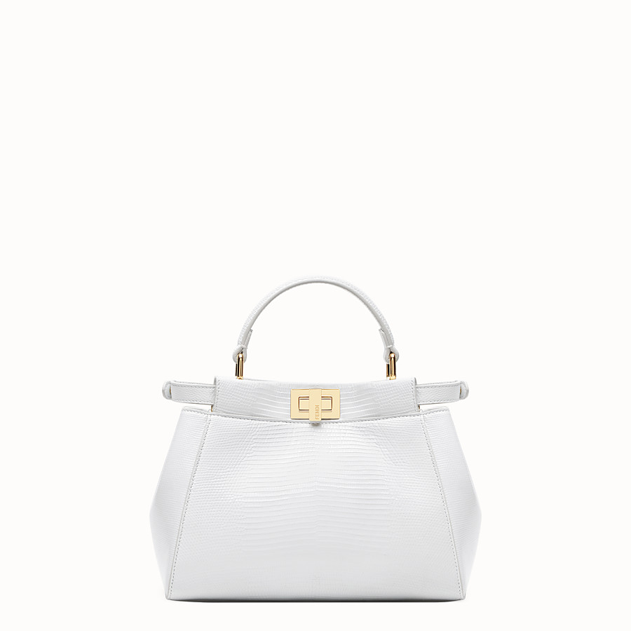 FENDI PEEKABOO ICONIC MINI - White lizard skin bag - view 4 detail
