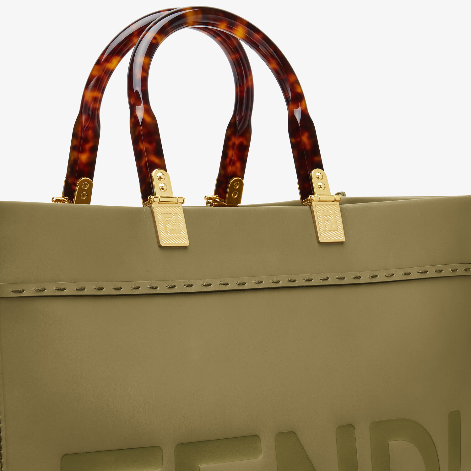 FENDI FENDI SUNSHINE MEDIUM - Green leather shopper - view 5 detail