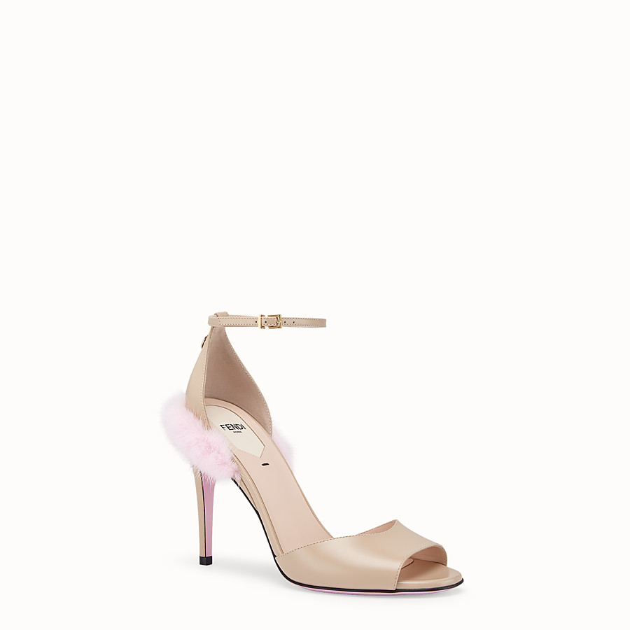 FENDI SANDALS - Beige leather high sandals - view 2 detail