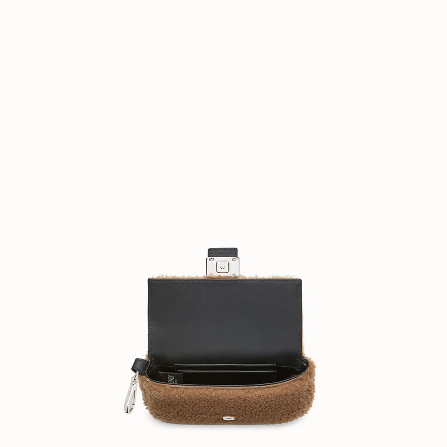FENDI MICRO BAGUETTE - Micro-bag in brown sheepskin - view 3 detail