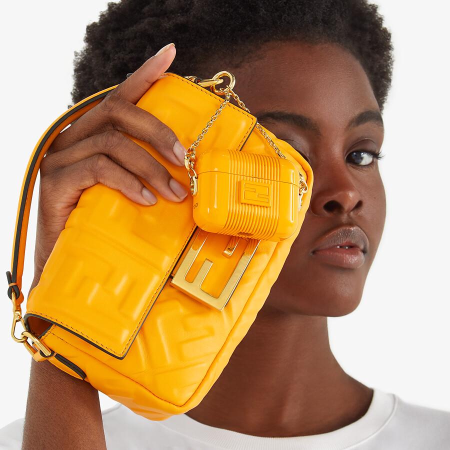FENDI BAGUETTE - Orange nappa leather bag featuring the FF motif - view 2 detail