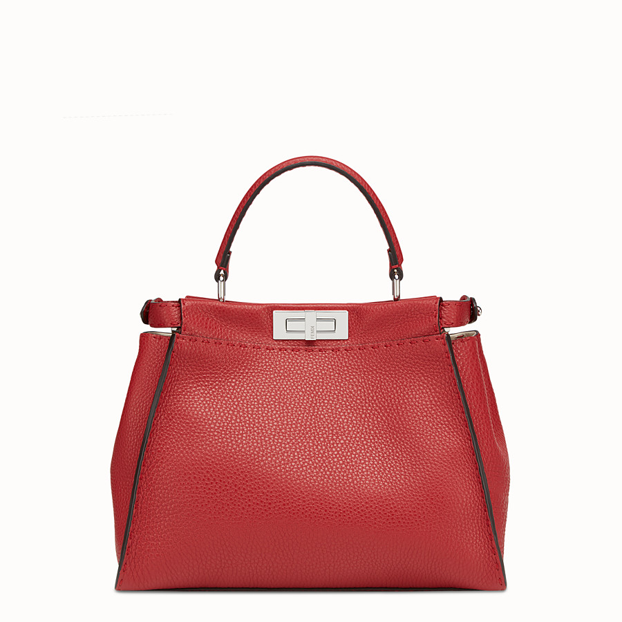 FENDI PEEKABOO ICONIC MEDIUM - Red leather bag - view 3 detail