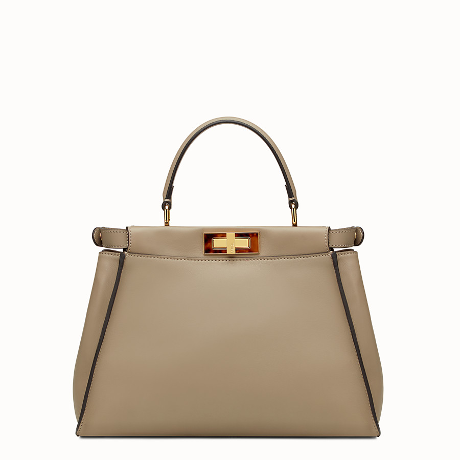 FENDI PEEKABOO REGULAR - dove grey leather handbag - view 3 detail