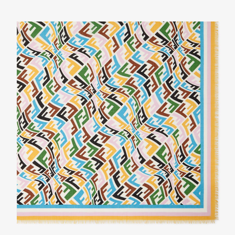 FENDI FF VERTIGO SHAWL - Multicolor silk and wool shawl - view 1 detail