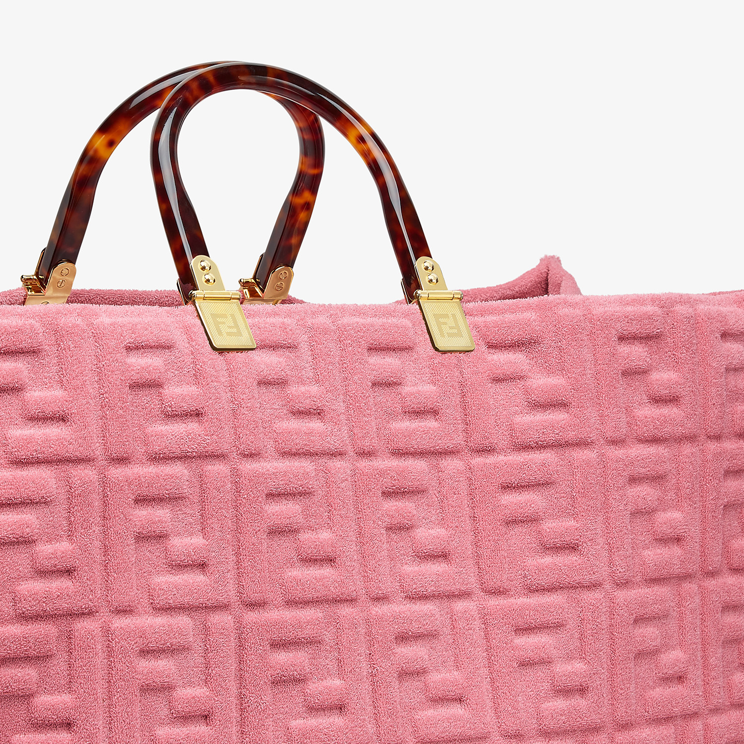 FENDI FENDI SUNSHINE XL - Pink terrycloth shopper - view 6 detail
