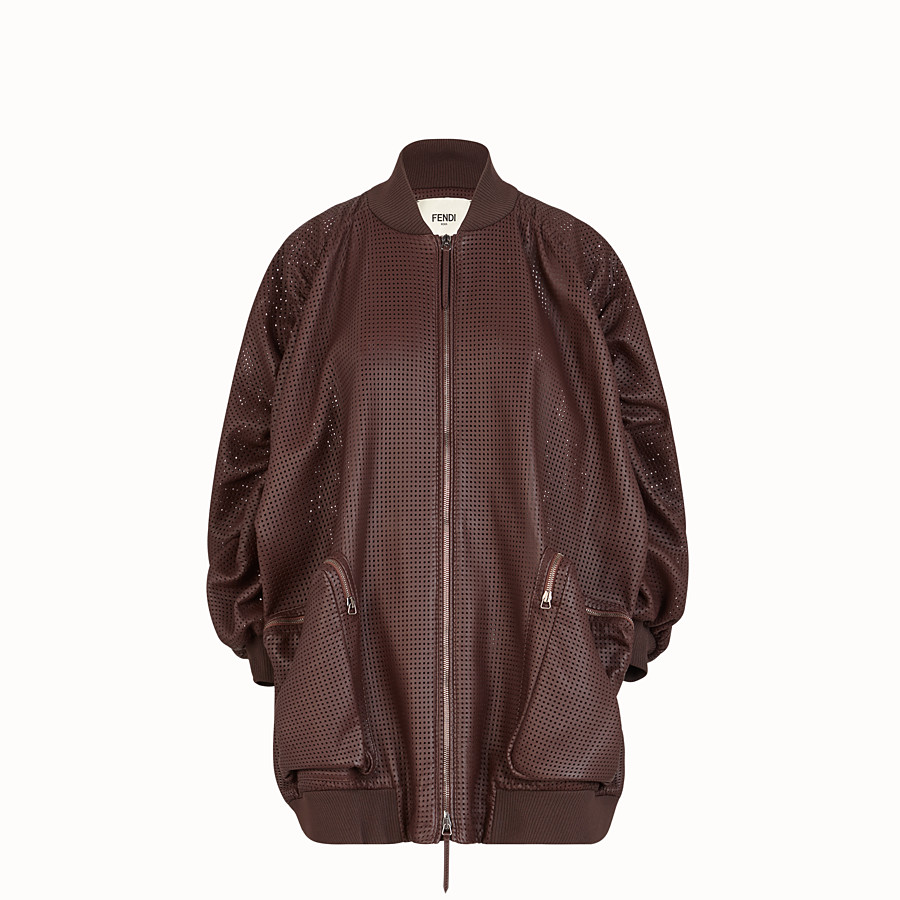 FENDI BOMBER - Brown nappa leather bomber jacket - view 1 detail