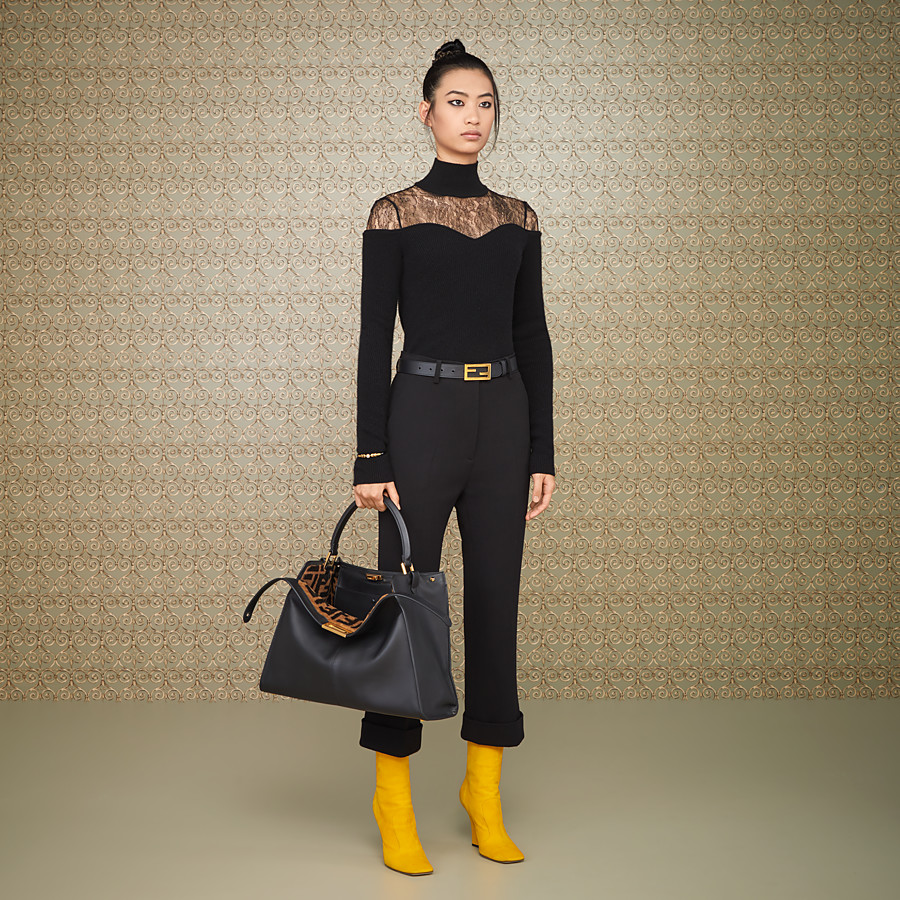 FENDI TROUSERS - Black wool crêpe trousers - view 4 detail