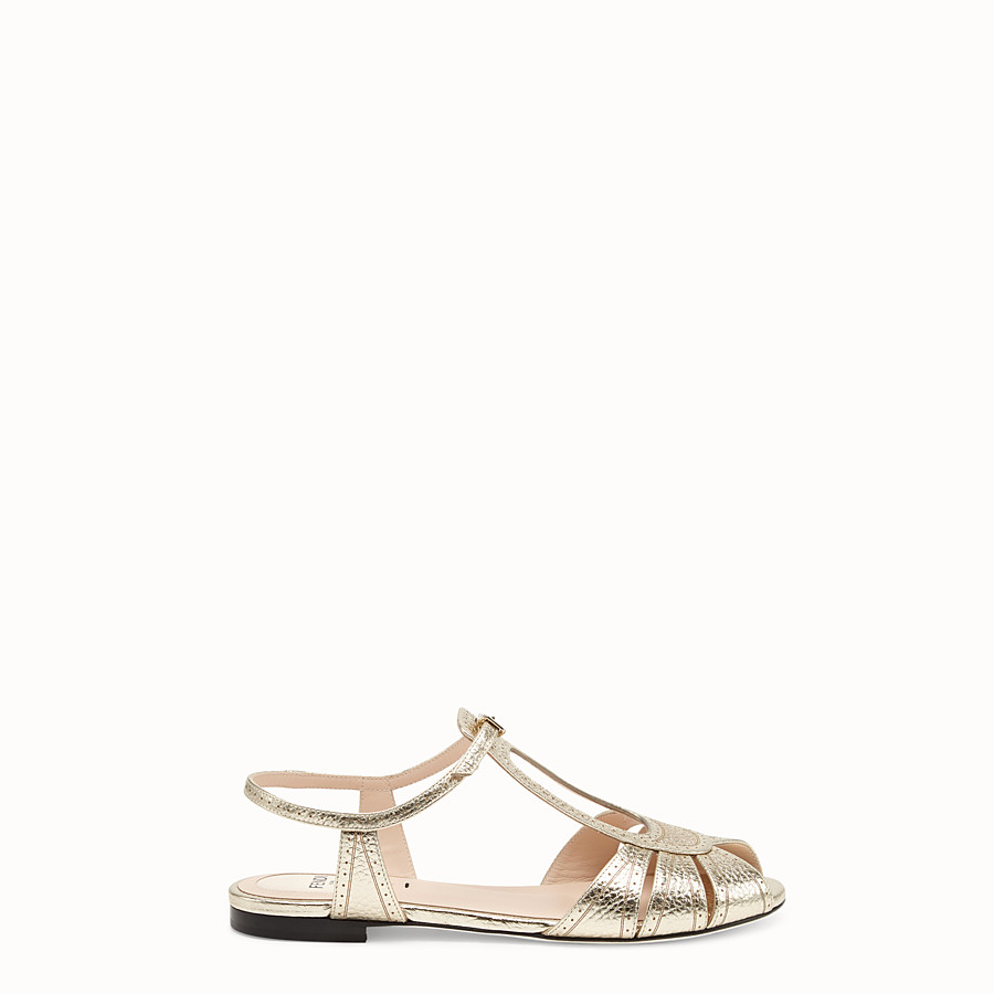 FENDI SANDALS - Golden leather flats - view 1 detail