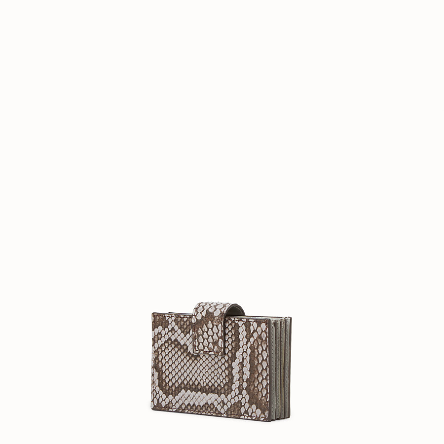 FENDI CARD HOLDER - Grey python gusseted card holder - view 2 detail