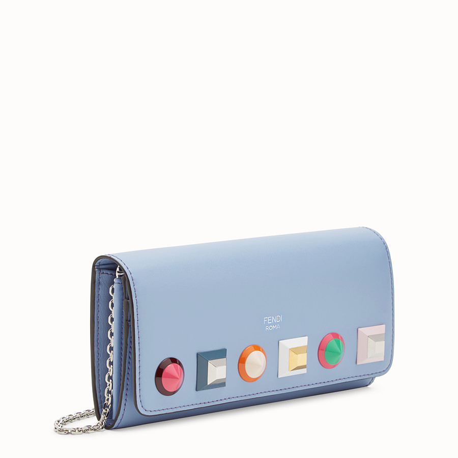 FENDI CONTINENTAL WITH CHAIN - Light blue leather wallet - view 2 detail