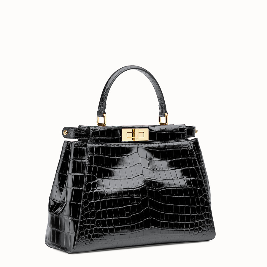 FENDI PEEKABOO REGULAR - Black crocodile leather handbag. - view 2 detail