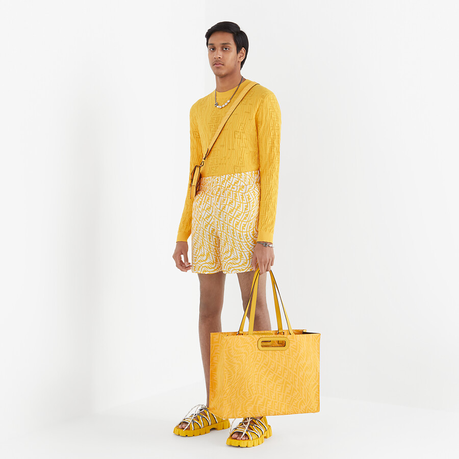 FENDI SHOPPING BAG - Yellow FF Vertigo jacquard shopper - view 7 detail