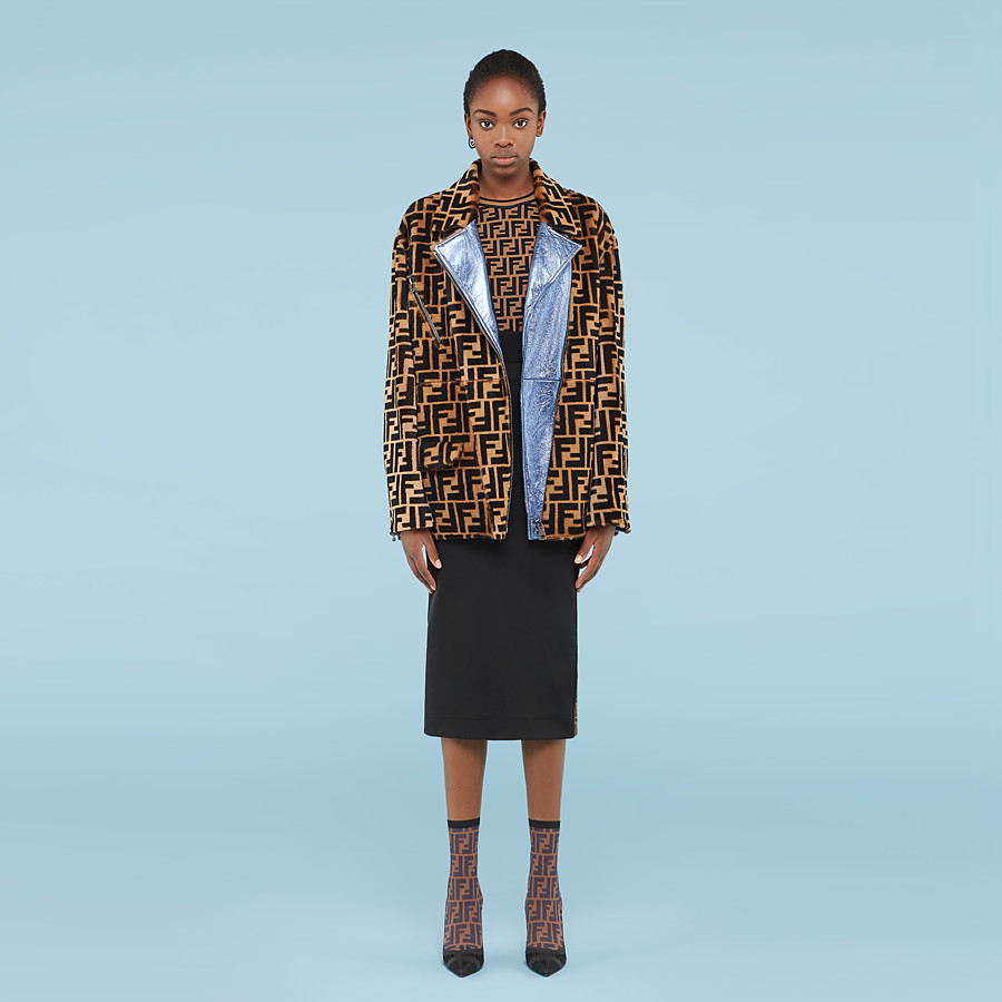 FENDI JACKET - Multicolor shearling jacket - view 4 detail